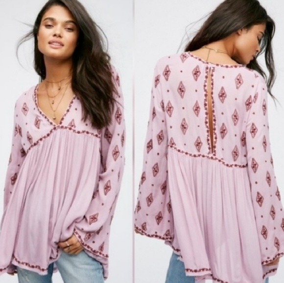 df80dd8ab850 Free People diamond embroidered long sleeve tunic